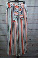 Bar III Woman Striped Wide-Leg Pants White Size Medium