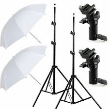 2PC White Soft  Umbrella + Light Stand Tripod + Swivel Bracket Holder Studio Kit