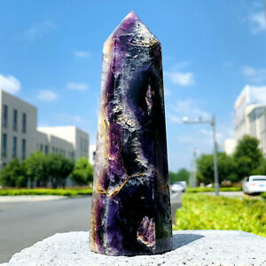 617g Natural Fluorite Quartz Mineral Specimen Obelisk Wand Point Healing  1626