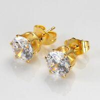 Women's Earrings Ear stud 8mm 24k Yellow Gold Filled Fashion Jewelry Hot