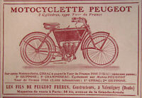 PUBLICITÉ DE PRESSE 1906 MOTOCYCLETTE PEUGEOT TYPE TOUR DE FRANCE -ADVERTISING