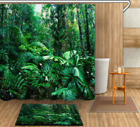 Green Jungle Shower Curtain Bathroom Waterproof Fabric 12 Hooks Bath Curtain Set
