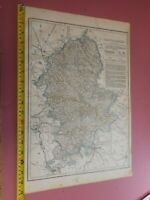 100% ORIGINAL LARGE STAFFORDSHIRE MAP BY CASSELL C1863 COLOURED  RAILWAYS