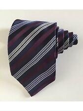 Ermenegildo zegna men tie striped navy purple and blue 100 % silk