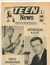 original USA Pop / Teen Magazine: Teen News Vol.2 No.2  (1966)  Troy Donahue etc