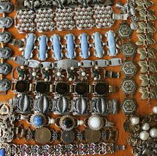 NICE High-End Vintage 17 Pc Bracelet Lot Cuff Link 1.12 Pounds Lbs Glass Metal