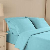 Twin Queen King Full Fitted Bed Sheet Set Deep Pockets w/ Pillow Case-Light Blue