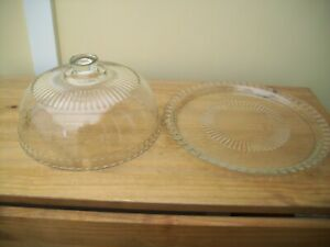 Large 32cm Glass 2 piece Dome & plate Cheese Fromage Set.