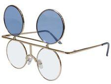 Flip Up Lens Sunglasses Round Glasses Retro Steampunk Vintage Gold Blue
