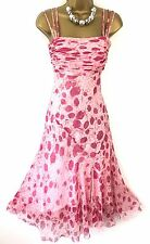 Phase Eight Summer Dress size 10 38 Used Fit Flare Pink Floral Strappy A Line