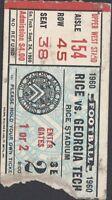 September 1960 Rice vs Georgia Tech Football Rice Stadium Ticket Stub
