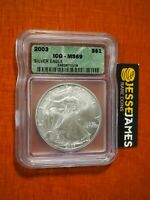 2003 $1 AMERICAN SILVER EAGLE ICG MS69 GREEN LABEL
