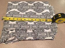 "Biker White HARLEY DAVIDSON bar and shield logo Quilt Fabric 11""x53"""