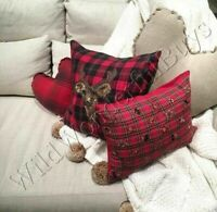 Pottery Barn Jeweled Plaid Lumbar Pillow Cover Red 12x16 New
