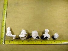 5 x excavated unpainted vintage victorian doll head for Altered Art German A 832
