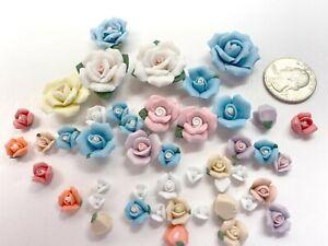 Porcelain Flowers Lot DIY Mix Color Size Flatback Mix color Capodimon Craft 30