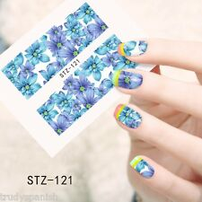 Nail Art Water Decals Wraps Blue White Summer Flowers Floral Gel Polish (121)