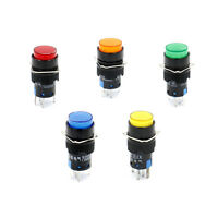 16mm Druckknopf Drucktaster taster Runde Cap LED Licht AC 220V SPDT 5Pin 5 Stück