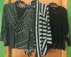 Lot of 3 NWT Vera Wang/Daisey Fuentes Black/Gray Knit Sweaters Top Size Large L