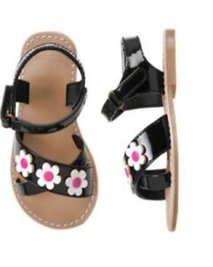 Gymboree Daisy Park Sandals 4 5 6 7 8 9 10 Black Pink Flower Shoes Floral 2015