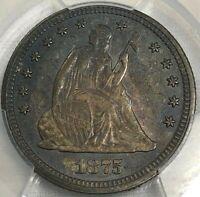 1875 PCGS MS62 Seated Liberty Silver Quarter 25c ~ Toned Patina ~ PCGS TrueView