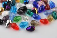 50Pcs Teardrop Drop Faceted Glass Crystal Loose Spacer Beads Gifts DIY Making