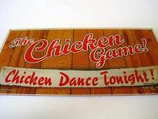 "THE CHICKEN GAME DANCE TONIGHT SLOT MACHINE GLASS CASINO GAMBLING RARE 17"" BY 9"""