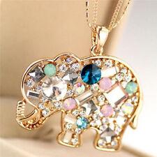 Fashion Crystal Lucky Lovely Elephant Necklace Pednat Necklase Long Chain Sz