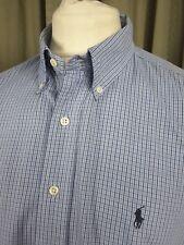 """POLO by Ralph Lauren cotone Blaire Blu a Quadri Camicia BUTTON DOWN XL 17"""" C46-48"""