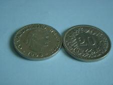 Münzen Schweiz 1908 B Swiss  1 x 20 Rappen 1908  B  Coin Svizzera