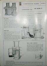 * Weber Carburetor Carburatore 38 DCNL 5 Maserati 4 Porte   Vergaserdatenblatt