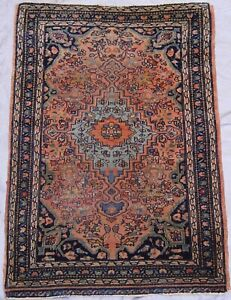 """1'8"""" x 2'5"""" Exquisite Antique 1880s Hand-Knotted Wool Oriental Rug Cleaned"""