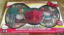 NEW HELLO KITTY SuperCute MINI Stationery Set 50 Pieces Case Pens Paper Stickers