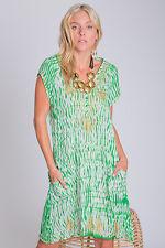 Vintage Earth Trocadaro Short Sleeve Cotton Dress In SEA GREEN,  Size 10