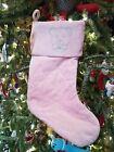 "Baby Girl Holiday Stocking Harvey Lewis Pink  Bear w/Swarovski Crystals 18"""