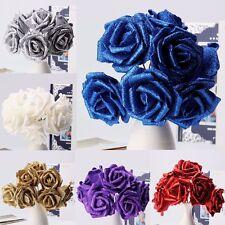 56 Heads Foam Rose Artificial Flower Glitter Bridal Bouquet Home Wedding Decor