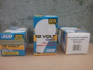 12 VOLT 25 watt Feit Electric A19 Frost 25/12 Incandescent Bulbs, 3 bulbs lot