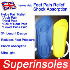 3/4 Length Feet Pain Relief Metatarsal Cushion Heel Shock Absorption Insoles
