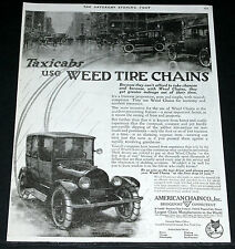 1919 OLD MAGAZINE PRINT AD, TAXICABS USE WEED TIRE CHAINS, CAR IN THE RAIN ART!