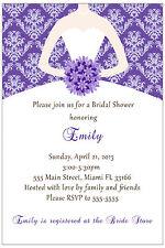 30 Invitations Wedding Bridal Shower Purple Dress Damask Personalized A1