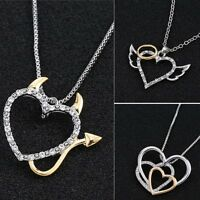 Silver/Gold Heart Angel Devil Crystal Pendant Necklace Family Mother's Day Gift