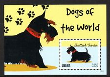 STAMPS - LIBERIA - MINIATURE SHEET - DOGS OF THE WORLD - SCOTTISH TERRIER - 2012