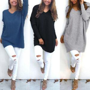 AU STOCK ZANZEA Women Tunic Top Blouse Shirt Pullover Knit Jumper Sweater Dress