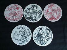 Set of 5 vintage coasters/wall plaques BJØRN WIINBLAD designs.