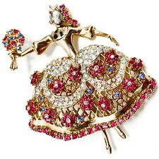 Coro 1951 Patented Katz Ballerina Pink Blue Rhinestone Brooch Marie Camargo Ad