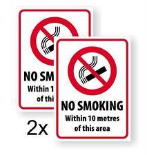 "2X ""NO SMOKING 10 METRES"" DECAL/STICKER FOR WALLS, DOORS, WINDOWS"
