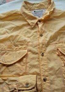 Columbia Men's Vented Long Sleeve Button Up Shirt Size XXL Yellow Fishing Hiking