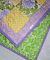 HANDMADE Patchwork Modern Floral Purple & Green Baby Crib Quilt Ready to Ship
