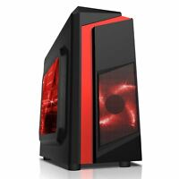 CiT F3 Black ATX Micro Gaming PC Case 12CM Red LED Fan USB 3.0 Side Window NEW