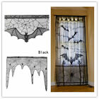 Haunted Home Gothic Black LACE SPIDER WEB TABLE Cloth Curtains Halloween Decor